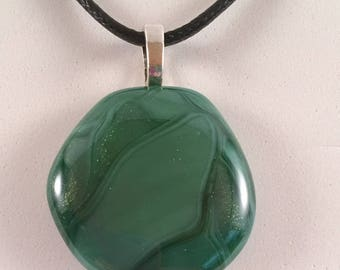 "Light Aventurine Green ""Puddle"" Pendant"