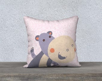"""""""Hippo"""" Purple and pink kids throw pillow cover fabric very soft-cover of Pillow decoration child room-baby gift"""