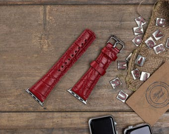 Leather Apple Watch Band, 42mm, 38mm, Croco Red Replacement iWatch Band, Apple Watch Strap for Series 1, 2, 3, Apple Watch Customize Cuff