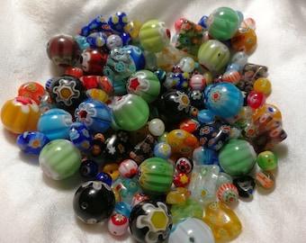 95 gram Mille Fiory beads