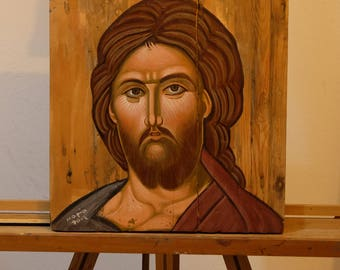 Jesus Christ - Orthodox Byzantine handmade icon on wood