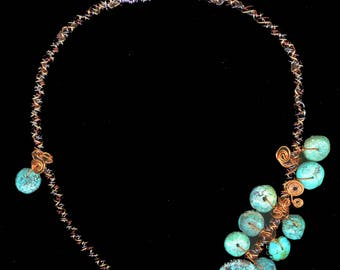 Wire Kumihimo and Turquoise Necklace //Japanese Braiding Necklace // Statement Necklace // Wearable Art //