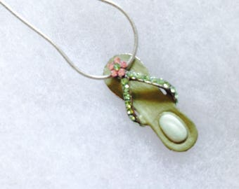 Vintage! Sterling silver chain,silver pink & green rhinestones flip flop pendant necklace