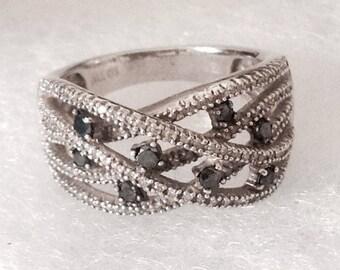 "Vintage! Sterling silver black diamond statement ring. ""925"" ""1/2 TW"" size 7 - Stunning!"