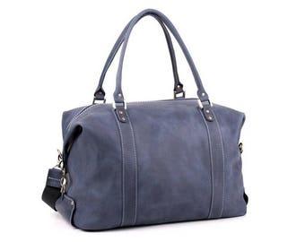Leather Travel Duffle Bag Blue Color DERBY Sport bag Gym bag Travel bag Weekender bag Holiday bag Carry-on Baggage Birthday Christmas Gift