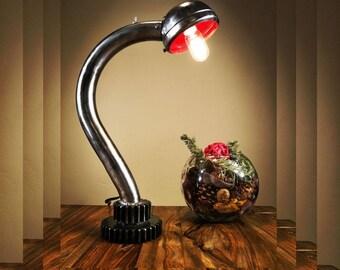 Vintage gear/headlight hot rod industrial unique man cave desk lamp