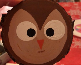Hand-painted Owl Wood Slice Ornament