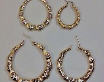 14K Gold Filled Bamboo Hoop Earrings
