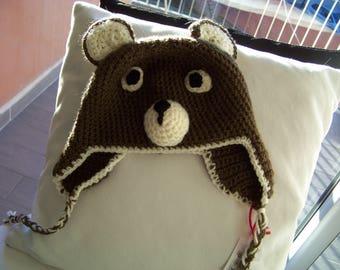child Hat bear, bear, france, handmade cheap, useful, gifts, beige, Brown, original