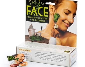 Natural scrub Fresh Face for dry and normal skin (facial scrub for deep cleansing), 24g (6x3g)