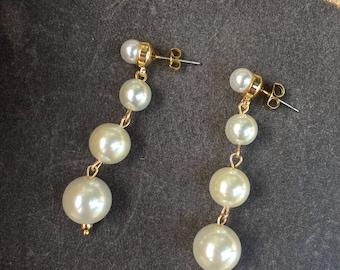 Pearl earrings drop earrings Long earrings Chandelier earrings Handmade jewelry Wedding jewelry Bridal Earrings Bridesmaid gift