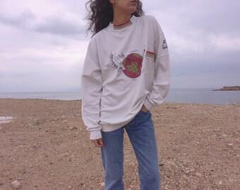 Vintage 90s cotton high neck illustrated jumper with front side pocket