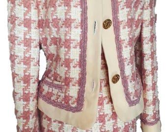 Vintage Tweed Chanel Inspired Skirt Suit Gorgeous Chanel Inspired Pink Tweed Skirt Suit Wool Separates Autumn Blazer Pencil Skirt