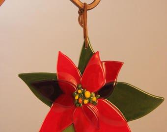 Glass Poinsettia Ornament