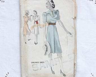 1930s sewing pattern day dress
