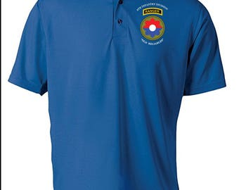 9th Infantry Division w/ Ranger Tab Embroidered Moisture Wick Polo Shirt -3396