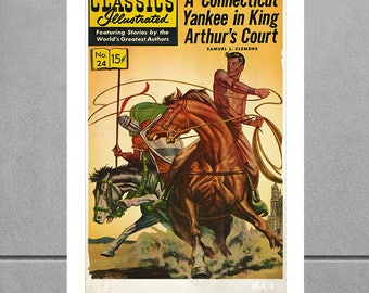 A Connecticut Yankee In King Arthurs Court -  Exciting Retro adventure novel cover - Wall Decor art print - Vintage sourced