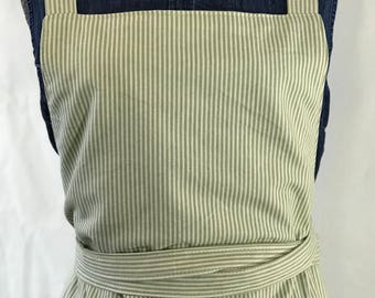 Lined green pinstripe apron