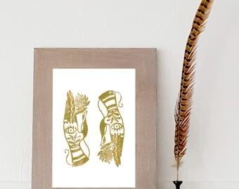 Hands holding lotus mustard, digital print