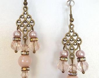 Antique Style Soft Pink Chandelier Earrings