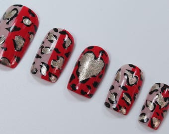 10 Animal Print Nails, Press On Nails, Glue on Nails, Full Coverage Nails