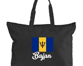 Barbados Tote Bag | Caribbean Canvas Tote for West Indian Women | School, University, International, Caribbean Island Hand Bags for Books
