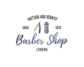 Template Logo Design, Barber Shop Logo, Barber Logo, Blue Gold Logo, INSTANT DOWNLOAD Logo, Premade Logo, DIY Logo, Logo Design, Hair Logo