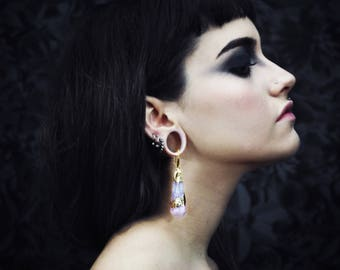 Natural stone ear weights,amethyst,gold,tribal earrings,druzy,tribal,tribe,ornemental,goth,witchcraft,plugs