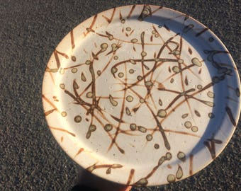 Stoneware plate, wheel-thrown, pottery, hand made, dinnerware, ceramic plate, one of a kind, glossy, round