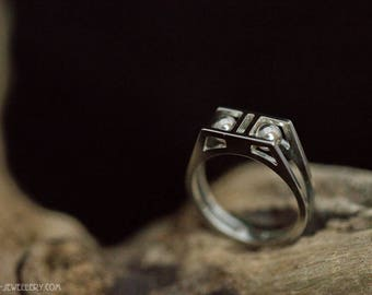 Silver open ring with balls, EU size 17 - 17.25