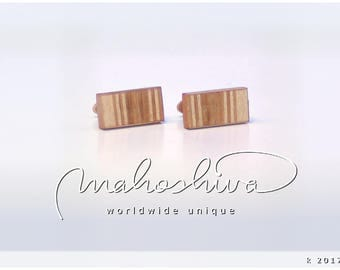 wooden cuff links wood cherry maple handmade unique exclusive limited jewelry - mahoshiva k 2017-89