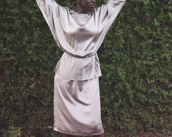 1970's Silk Peplum Dress