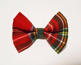 Red tartan dog bow tie. Cat bow tie.