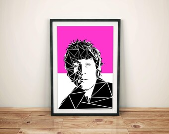 John Lennon Unique Contemporary Geometric Art print in hot pink size A4 or A3