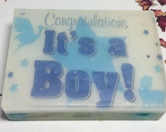 Handmade organic soap, it is a boy baby shower gift bar soap