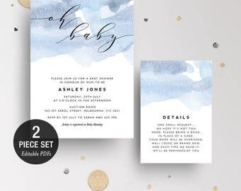 INSTANT DOWNLOAD Blue Watercolor Wash Baby Shower Invitation Printable Template - Oh Baby