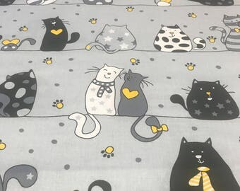 Beautifull ,wide width 160cm, cats on grey with yellow 100% printed cotton