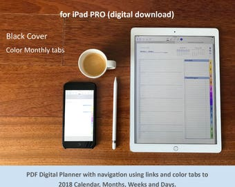 2018 Full Page Planner for iPad PRO GoodNotes app: color tabs, links and bookmarks to Calendar, Months, Weeks and Days. BLACK Cover