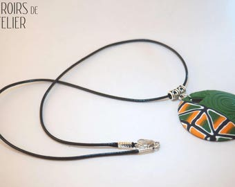 Orange and green, Bohemian, ethnic necklace boho, hippie, colorful, unique