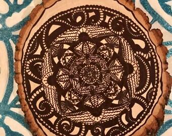 Ink Mandala on wood