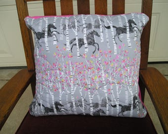 Pillow Cover All The Pretty Horses  Quilted