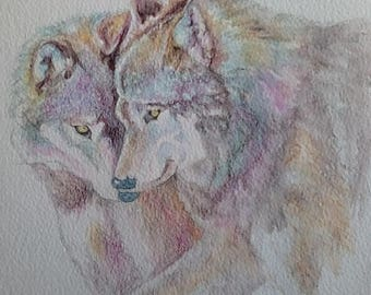 Derwent Inktense,affordable artwork, wolves, wildlife paintings, mothers day present, fabulouse colour, watercolour, 14 x 11mount, goodsize