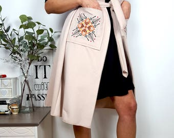 "Woven fabric wool cloth vest traditional embroidery ""Motifs"" - choose from our range of colours available"