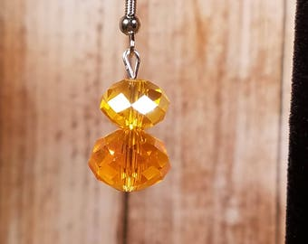 Amber Colored Glass Earrings