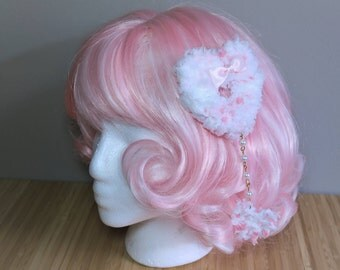 Pink and White Fuzzy Heart Clip