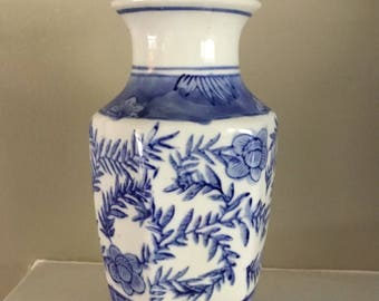 Vintage Chinoiserie Blue and White Bud Vase