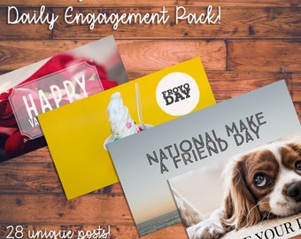 Social Media Daily Engagement Pack - February - (28 daily posts!)