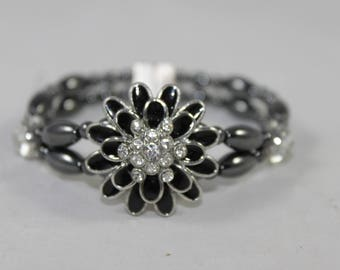 Black Flower Rhinestone High Quality Magnetic Bracelet
