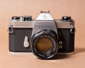 Asahi Pentax Spotmatic SPII Vintage 35mm SLR Film Camera w/ 55mm 1.8 Super Takumar Lens