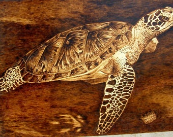 Wood pyrography, pyrography art, wood picture, turtle pyrography, turtle picture, rustic art, wood burned, handcrafted gift, burning wood